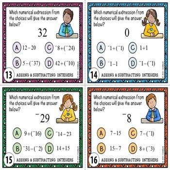 Integers Task Cards