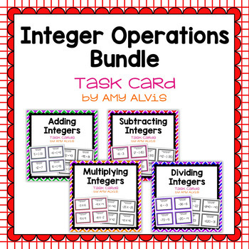 Integer Operations Task Cards - Bundle