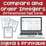 Compare and Order Integers Differentiated Task Cards