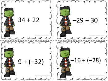 Integer Task Cards (Halloween and Anytime Use theme)