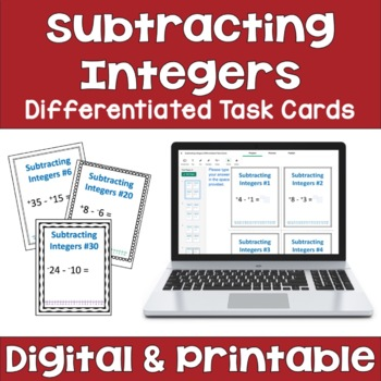 Subtracting Integers Task Cards (Differentiated with 3 Levels)