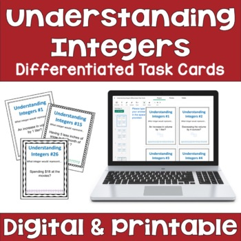 Understanding Integers Task Cards (Differentiated with 3 Levels)