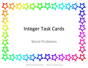 Integer Task Cards - Word Problems
