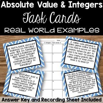 Integer Task Cards - Word Problems