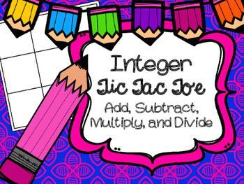 Integer Tic Tac Toe Add Subtract Multiply Divide