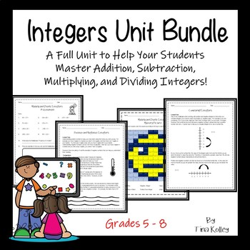 Integer Unit Bundle - Add, Subtract, Divide, Word Problems, Assessment