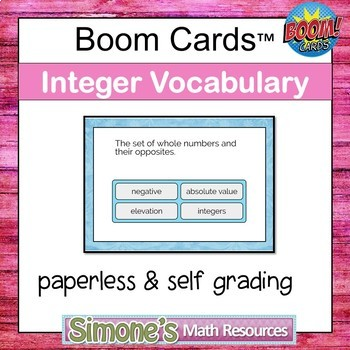 Integer Vocabulary Digital Interactive Boom Cards