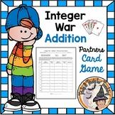 Integer War Addition Partners Card Game Math Station No Prep Adding Integers FUN