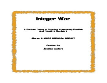 Integer War- Comparing Positive and Negative Rational Numbers