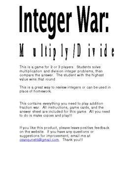 Integer War: Multiply and Divide