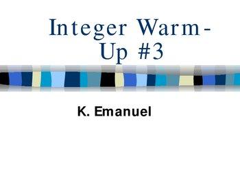 Integer Warm Up#3