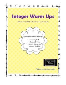 Integer Warm Ups!