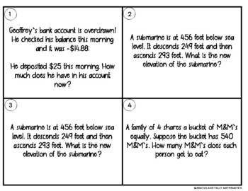 Integer Word Problem Task Card with Mixed Operations