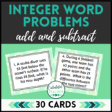 Integer Word Problem Task Cards | Addition and Subtraction