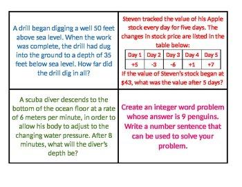 Integer Word Problem Task Cards