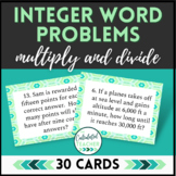 Integer Word Problems Task Cards - Google Edition - Multip