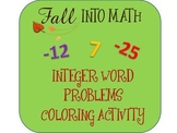 Integer Word Problems (Adding & Subtracting) Color Sheet ~ Common Core