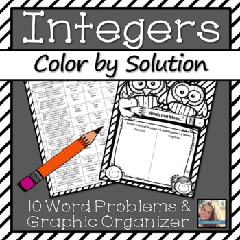 Integers Worksheet Color by Solution