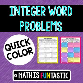 Integer Word Problems Quick Color
