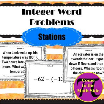 Integer Word Problems Stations