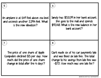 Integer Word Problems Task Cards with Addition and Subtraction