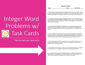 Integer Word Problems - Homework Assessment Task Cards - Differentiated!