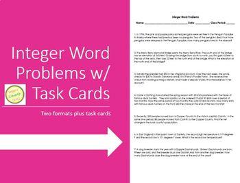 Integer Word Problems - Homework Assessment Task Cards - Differentiated!