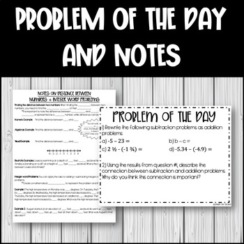 Integer Word Problems (+ and -) and Distance Between Two Points Lesson