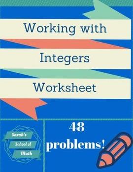 Integer Worksheet