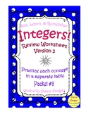 Integer Worksheet: Add, Subtract, Multiply, Divide, Order of Operations (#2)