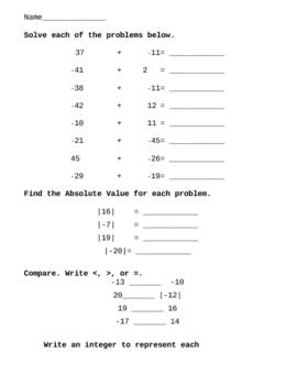 Integer Worksheet: Addition, Subtraction, Absolute Value, etc.
