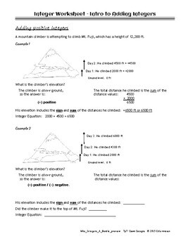 Integer Worksheet: Bundle of Operations