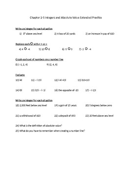 Integer and Absolute Value Practice Problems