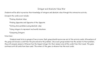Integer and Absolute Value War