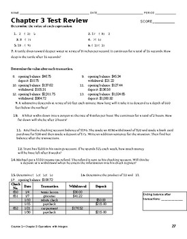 Integer and Checking Account Worksheet/Test Review