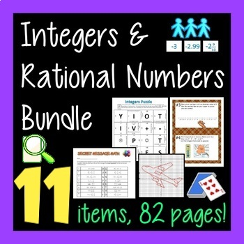 Integer and Rational Number Combo Pack - 6 Activities Grea