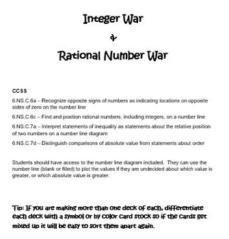 Integer and Rational Number War