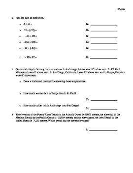 Integer and absolute value quiz