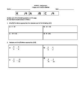 Integer basic skills review (multiple versions)