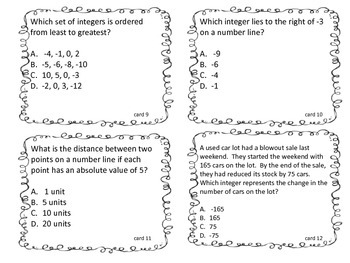 Integer task cards cover 6.2 b, c, d