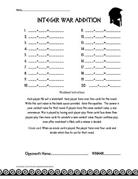 Integer war card game (addition and subtraction)