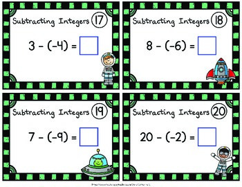 Subtracting Integers Task Cards