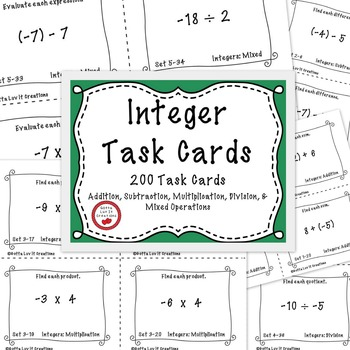 Task Cards Adding and Subtracting Integers Multiplying and Dividing Integers