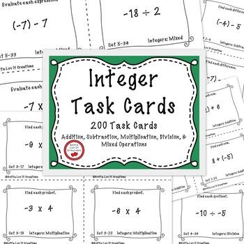 Integers 200 Task Cards
