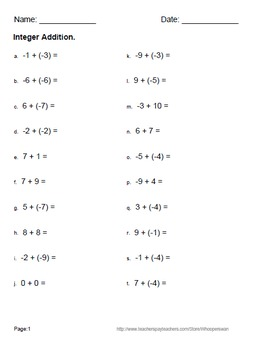 Integer Worksheets -  addition, subtraction, multiplication and division