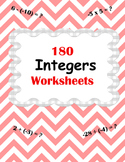 Integer Worksheets -  addition, subtraction, multiplicatio