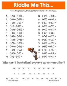 Summer Integers Math Riddles Bundle