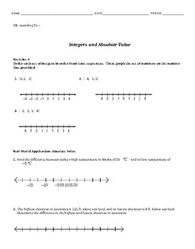 Integers & Absolute Value Guided Notes