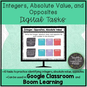 Integers, Absolute Value, Opposite Digital Tasks and Boom Learning Cards