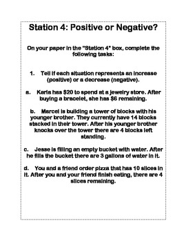 Integers, Absolute Value, Opposites Intro Stations Activity
